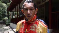 A man dressed as Simón Bolívar speaks about the Liberator at the Casa Museo Quinta de Bolívar in Bogotá, Columbia.