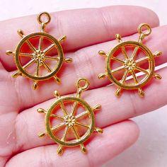 Boat Wheel Charm / Ship Wheel Charms 3pcs / 23mm by MiniatureSweet
