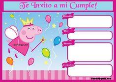 Invitacion Peppa Pig, Peppa Pig Invitations, Printable Invitation Templates, Pig Party, Party Decoration, 2nd Birthday Parties, Kids Rugs, Crafts, Samara