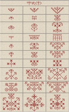 Folk Embroidery Patterns Latvju rakstu zimes - J. Kasuti Embroidery, Folk Embroidery, Cross Stitch Embroidery, Embroidery Patterns, Cross Stitch Patterns, Red Work Embroidery, Embroidery Online, Indian Embroidery, Blackwork Patterns