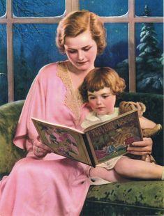 Reading Mother Goose Calendar Art by RedfordRetro on Etsy, $15.00
