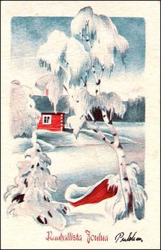 OV0004 Christmas Tale, Vintage Christmas Cards, Christmas Illustration, Finland, Painting, Art, Art Background, Painting Art, Kunst