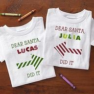 These would look so cute in the family Christmas Picture that you send in your Christmas Cards! You can personalize them so they say Dear Santa, ______ did it and have them all point to one of their siblings or cousins .. so cute! It comes in a baby bib too! #Christmas #Santa