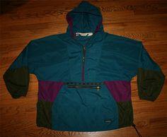 Vintage LL BEAN Jacket Windbreaker half-zip hooded Pullover-Mens 2XL-golf- 0b5da8edba