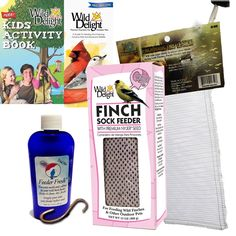 This is a perfect bird feeding starter kit, boxed for gift giving. You receive a 13 oz. Wild Delight® Finch Sock Feeder with premium Nyjer seed; plus 1.6 ounces of Feeder Fresh; plus an extra finch sock; plus a copper S-hook to hang your feeder; plus a feeding guide and a kid's activity booklet.