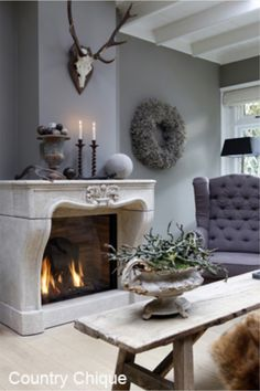 Belgian | Style | Interiors | Fireplace | Gray | Linen | Chair | Living room