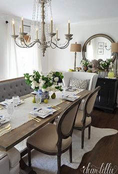 French Country Dining Room Features A Wood Beaded Chandelier