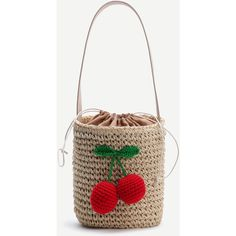 Beige Cherry Detail Straw Bucket Bag With Drawstring (€24) ❤ liked on Polyvore featuring bags and handbags