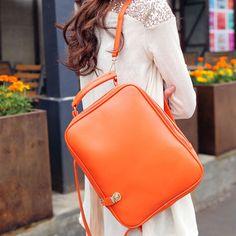 3 ways orange lady women backpack handbag shoulder bags for ipad tote PU leather