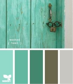 washed teal, brown, and cream or white Baby room :)