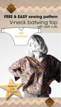 Free sewing pattern for v-neck batwing top with split cuffs. Wow just made this pattern and love it... several other really good patterns on the website perfect for beginners like me! - they are sew easy (geddit!) to understand. Great site  - have a look at the customising posts too.