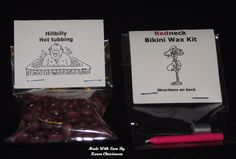 How about a Bikini Wax Kit or a Hillbilly Hot Tub kit? Complete with instructions on the back! That is what some of my co-workers are getting from me this year for Christmas! The Bikini Kit was m… Diy Gag Gifts, Joke Gifts, Quirky Gifts, Simple Gifts, Homemade Gifts, Funny Gifts, Prank Gifts, Christmas Pranks, Gag Gifts Christmas