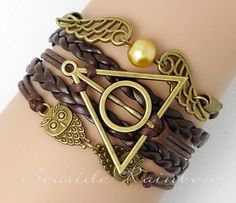 I need this!!!  Pearl bracelet wings harry potter deathly hallows by SeasideRainbow, $7.29