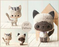 Kittens: siamese and tabby (PDF Pattern)