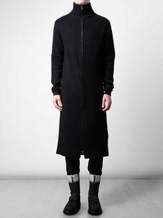 ANN DEMEULEMEESTER - Long ribbed fleece wool cardigan 2