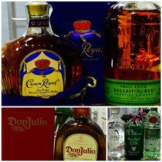 Canadian Whiskey Crow Royal - Bourbon Bulleit Rye - Don Julio Tequila Reposada - Gin Williams, Gin Jinzu, Tanqueray Rangpur