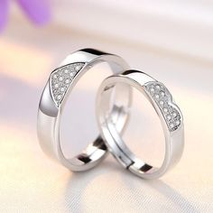 Heart to Heart Diamonds Cluster Men's Women's Wedding Ring Set Matching Jewelry For Couples, Matching Couple Rings, Couple Jewelry, Heart Wedding Rings, Wedding Rings For Women, Couple Bands, Wholesale Silver Jewelry, Stylish Rings, Opal Jewelry