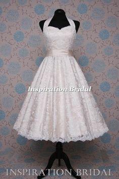 Cutting edge halter neck short champange Tea Length wedding dress stunning  short vintage lace wedding dress gowns by inspiration bridal 5c9b29e53e5a