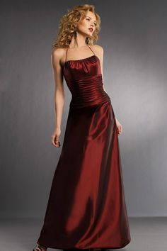 Taffeta Halter Full Length Burgundy Bridesmaid Dress