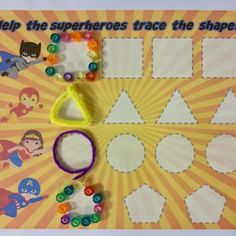 Available in Superhero Package on TPT. Superhero Preschool, Motor Activities, Learning Centers, Fine Motor, Shapes, Fine Motor Skills