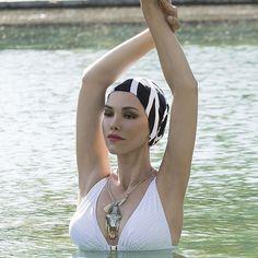 Bonnet de bain fantaisie en tissu noir et blanc , Bonnets de bain femme