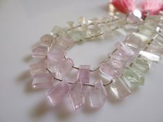 1/2 STRAND---Amzing Pink and Green Kunzite Mixed shapes faceted Briolettes