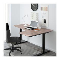 BEKANT Corner desk right sit/stand - gray/black - IKEA