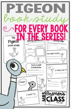 Pigeon book study companion activities to go with ANY Pigeon book in the series by Mo Willems