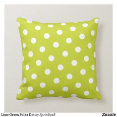 Shop Lime Green Polka Dot Throw Pillow created by SprinklesB. Lime Green Cushions, Green Pillows, Decorative Cushions, White Elephant Gifts, Custom Pillows, Polka Dots, Personalized Gifts, Gender, Rooms