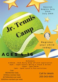 d20798ecd6c2 Sign-ups for Tennis Camps are now! Reserve your space early! June July    July Camps begin at and pick up is Ages welcome. All levels of players