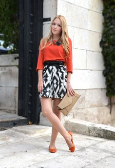Top, skirt, flats, and clutch by Zara, obi belt by Asos, necklace by Stradivarius. (ohmyvogue.com, August 31, 2011)