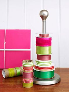 Forget the frustration of tangled ribbon. Stack spools onto a paper-towel holder for easy access, and save leftover pieces of ribbon (that no longer have a spool) on empty paper-towel rolls, using a piece of tape to keep each wrapped tight. Stash the rolls in a handy box, so you know where to find them next year or whenever a wrapping project arises.