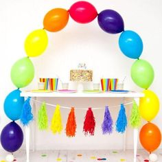This balloon arch kit using Quicklinks balloons is easy and fun to create at home, without the need for a supporting wire or arch. Each balloon arch set Rainbow Balloon Arch, Balloon Clouds, Balloon Banner, Letter Balloons, The Balloon, Simple 1st Birthday Party Boy, Boy Birthday Parties, Birthday Party Decorations, Happy Birthday