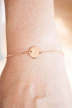 Rose Goldarmband Armband Minze Trouwkado Initiale von NandNJewelry