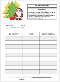 Silent Auction Bid Sheet Template   Silent Auction