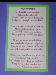 Bridesmaid Poems For Sisters