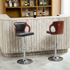 Homall Walnut Bentwood Adjustable Height Leather Bar Stool with Black vinyl seat to decorate your Home,Kitchen,Office Extremely Comfy with seat back pad (Walnut Set of Wooden Dining Chairs, Bar Stool Chairs, Cool Bar Stools, Modern Bar Stools, Swivel Bar Stools, Leather Bar Stools, Bar Furniture, Garden Furniture, Chair Types