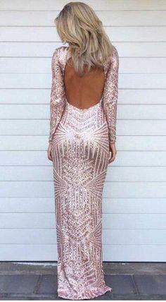 Goddess Golden Sequins Long Sleeved Maxi Gala Dress