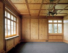plywood walls + ceiling (love the trim detail overlaying the simple plywood.) Possible interior for studio ...