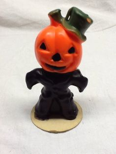 Vintage Gurley Halloween Candle ~ Scarecrow w Jack O' Lantern Head 5""