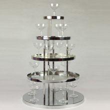 2015 новое поступление нержавеющих стальных на день рождения ну вечеринку поставок 5 слой шампанское башня для украшения стола(China (Mainland))