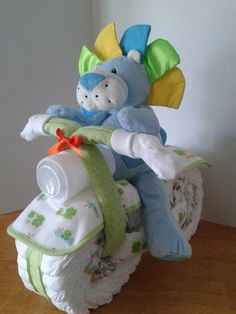 Diaper Motorcycle with Driver - Baby Shower Gift - Baby Shower Centerpiece.
