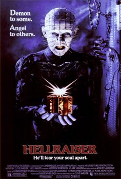 Hellraiser is a 1987 horror film directed by Clive Barker, based on his novella The Hellbound Heart. It is the first film in the Hellraiser series. Horror Movie Posters, Best Horror Movies, Classic Movie Posters, Classic Horror Movies, 80s Movies, Great Movies, Classic Halloween Movies, Comedy Movies, Movie Film