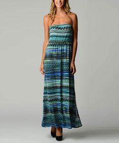 Loving this Teal & Blue Abstract Stripe Strapless Maxi Dress - Women on #zulily! #zulilyfinds