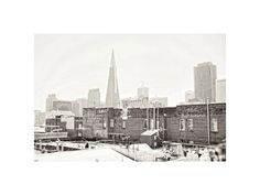 San Francisco Photography. City photo. Transamerica Pyramid. Skyscrapers. Urban. Industrial. Black and white. Roof Tops. Home Decor