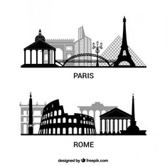 Paris and Rome silhouettes pack Free Vector