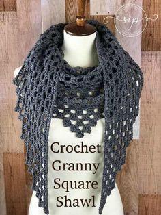 Crochet Granny Square Shawl at Stitch In Progress. Free pattern by Oombawka Design.