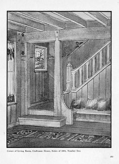 from The Craftsman Feb 1904: the hall, stairway and front door (opening right onto stairway - how odd)