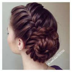 Side Braid Fishtail Bun ❤ liked on Polyvore featuring beauty products, haircare, hair styling tools, hair, hair styles and hairstyles