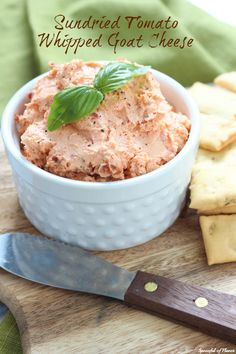 Sundried Tomato Whipped Goat Cheese - perfect for serving with pita chips and veggies or even spreading on a sandwich!
